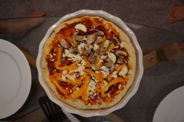Vegetarian: Veggie pizza with crumbled cheese