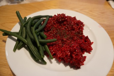 Vegetarian: Beetroot risotto with parmesan (can also be made vegan!)